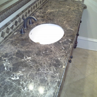 bathroom counter polished marble surface in tyler, tx